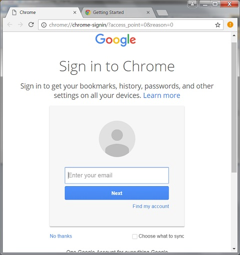 Google Chrome 55.0 Installation - Sign In
