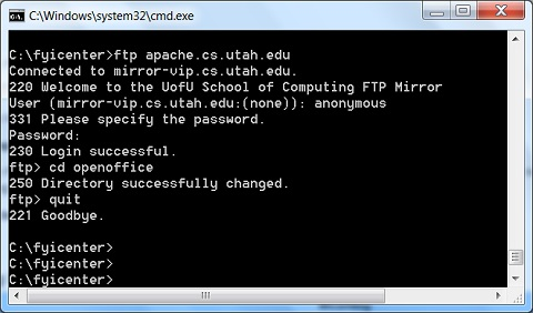 FTP Command-Line Tool on Windows