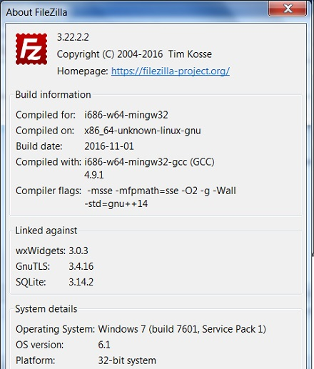 FileZilla Client - About and Version Screen