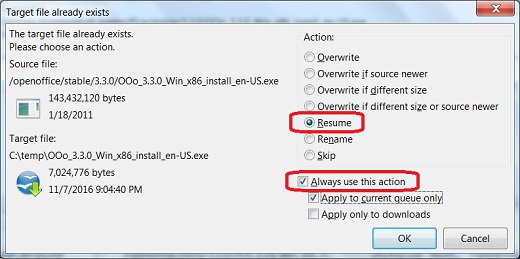 Technology - Resume File Transfer in FileZilla FTP Client