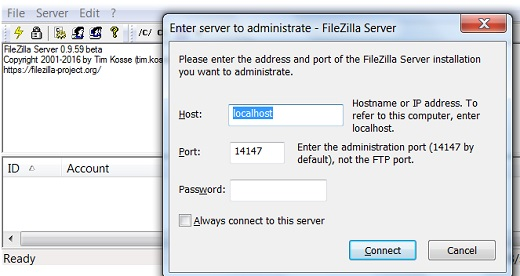 FileZilla Server Interface - Startup Screen