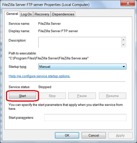 FileZilla Server Service - Start and Stop