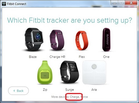 Fitbit Device Registration Selection