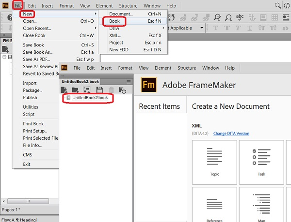 Create New FrameMaker Books