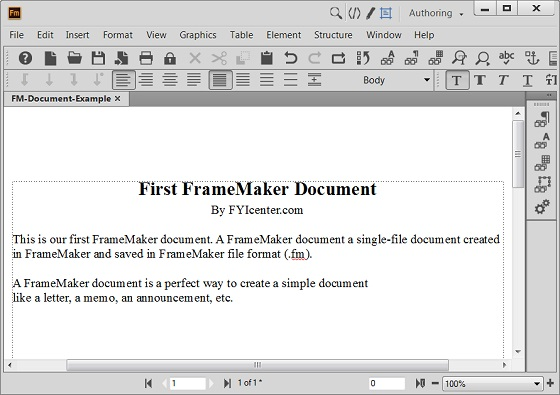 Example of FrameMaker Document