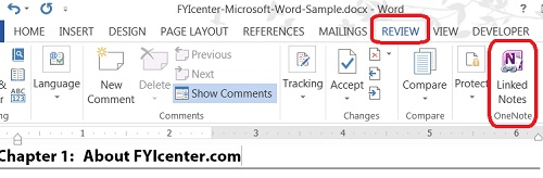 OneNote Linked Notes Add-in in Microsoft Word