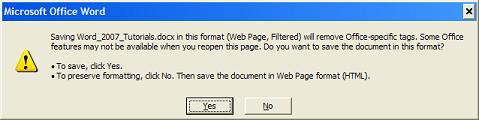 Converting Word Document to Filtered Web Page