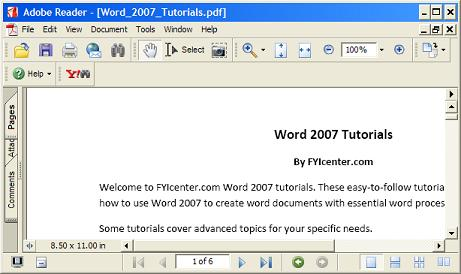 Converting Word Document to PDF Files