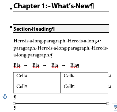 Microsoft Word List Of Formatting Symbols