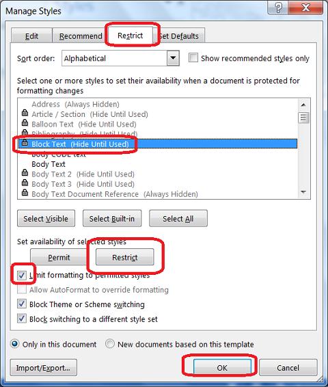 Tools Hide Styles In Microsoft Word