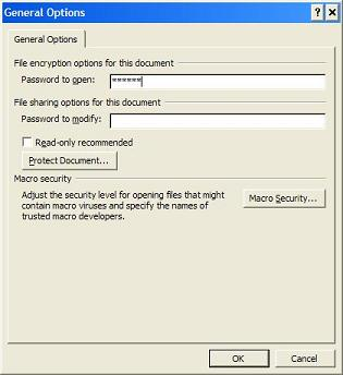 Setting Password on Open Word Document
