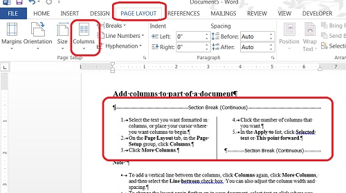 Two Column Format in Microsoft Word
