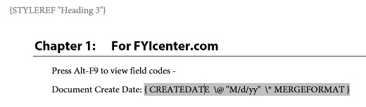 View Dynamic Field Codes in Microsoft Word