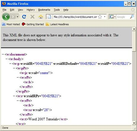 View Word XML Document in Browser