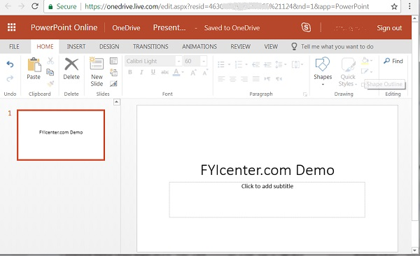 Office 365 PowerPoint Online App Screen