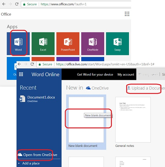Use Word Online in Microsoft Office 365
