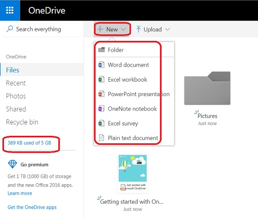 Create New Documents in Microsoft OneDrive