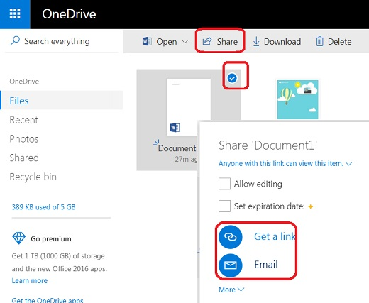 Share Files and Folders from Microsoft OneDrive