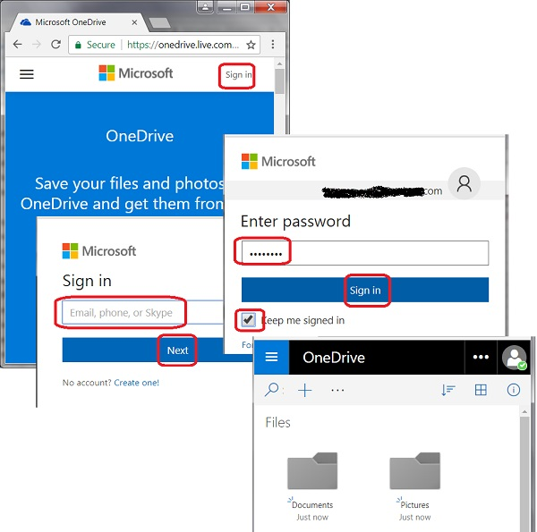 Sign in to Microsoft OneDrive Account