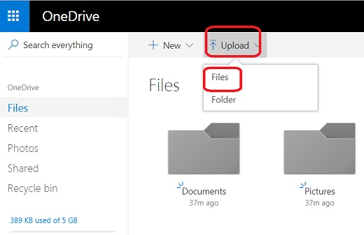Upload Files and Folders to Microsoft OneDrive