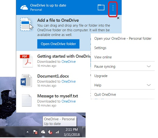 Access Control Screen of OneDrive for Windows