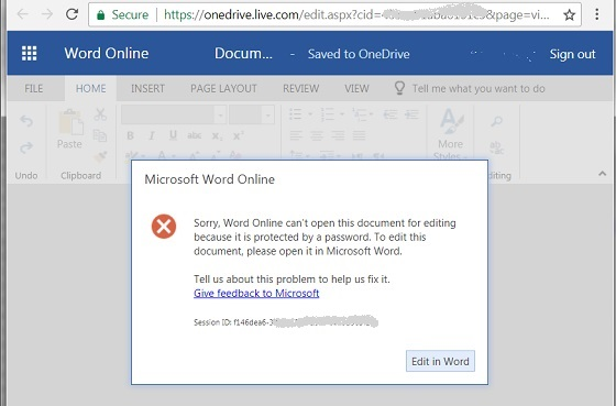 Word Online Not Support Document with Password