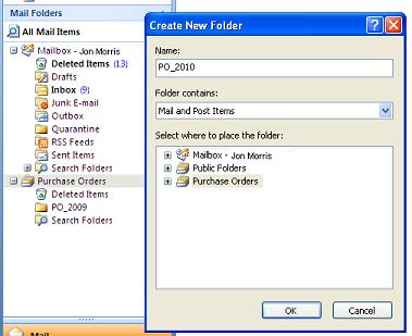 Add New Email Folder in Outlook 2007