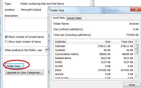 File Size and Folder Sizes of an Outlook 2010 Data File