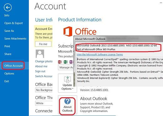 View Version Information in Outlook 2013