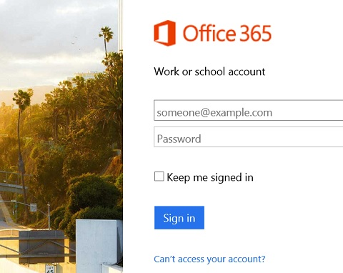 Login to Outlook on Office365