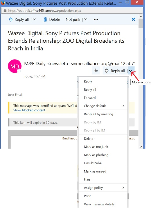 Outlook.Office365.com Message Action Menu