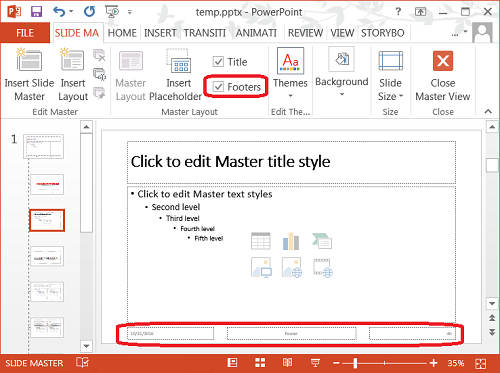 PowerPoint Add or Change Layout Footer