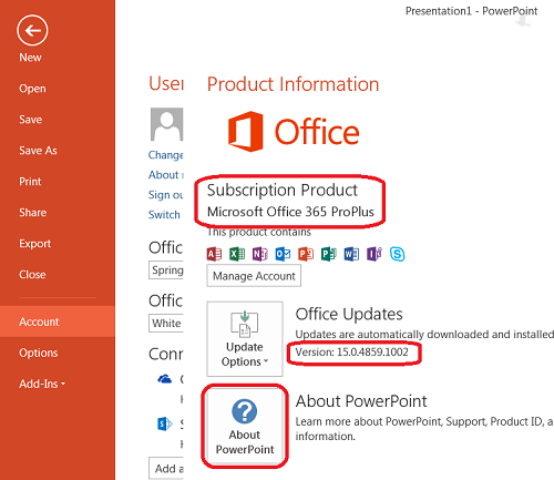 Determine PowerPoint Version in Office 365