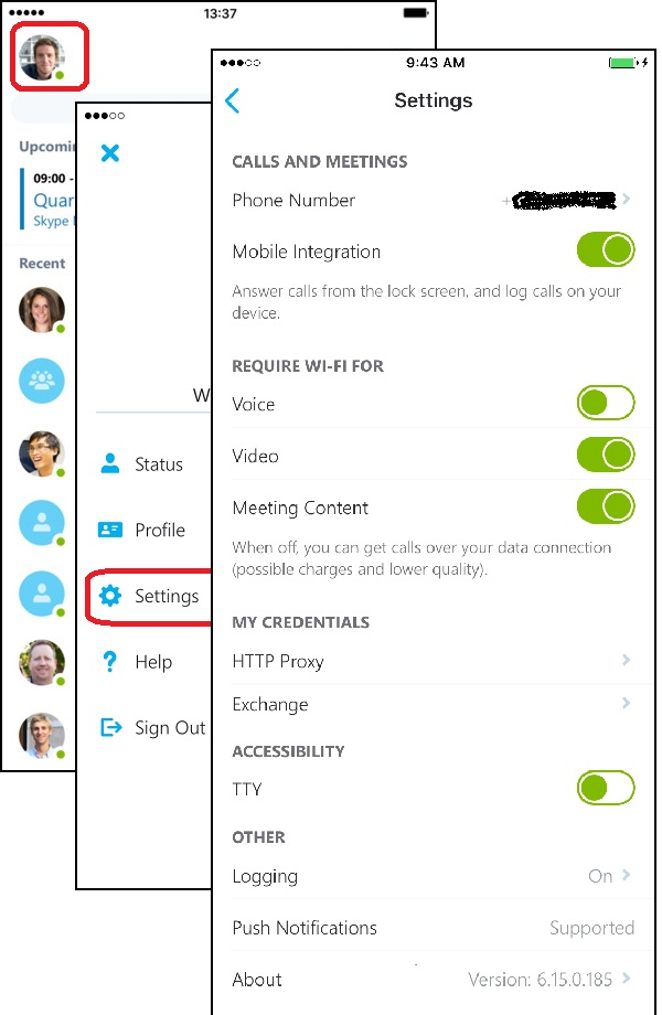 Change Settings in Skype for Business on iPhone