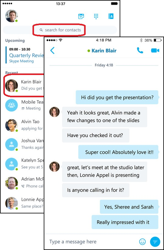 IM Chat with Skype for Business on iPhone