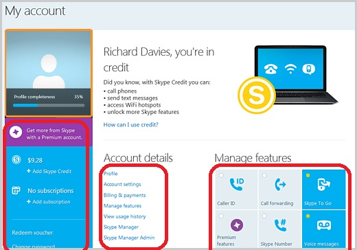 Manage Skype Account Information