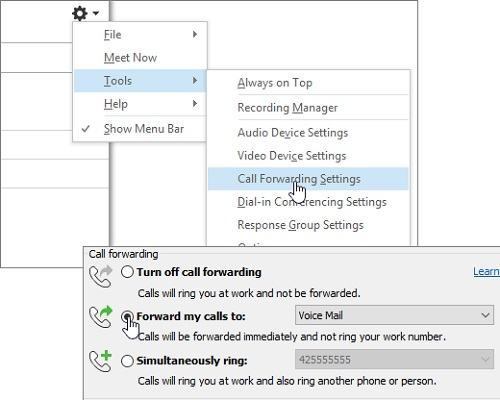 Call-Forwarding Settings in Skype for Business