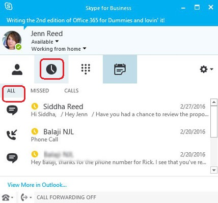 View All Conversations of on Skype for Business
