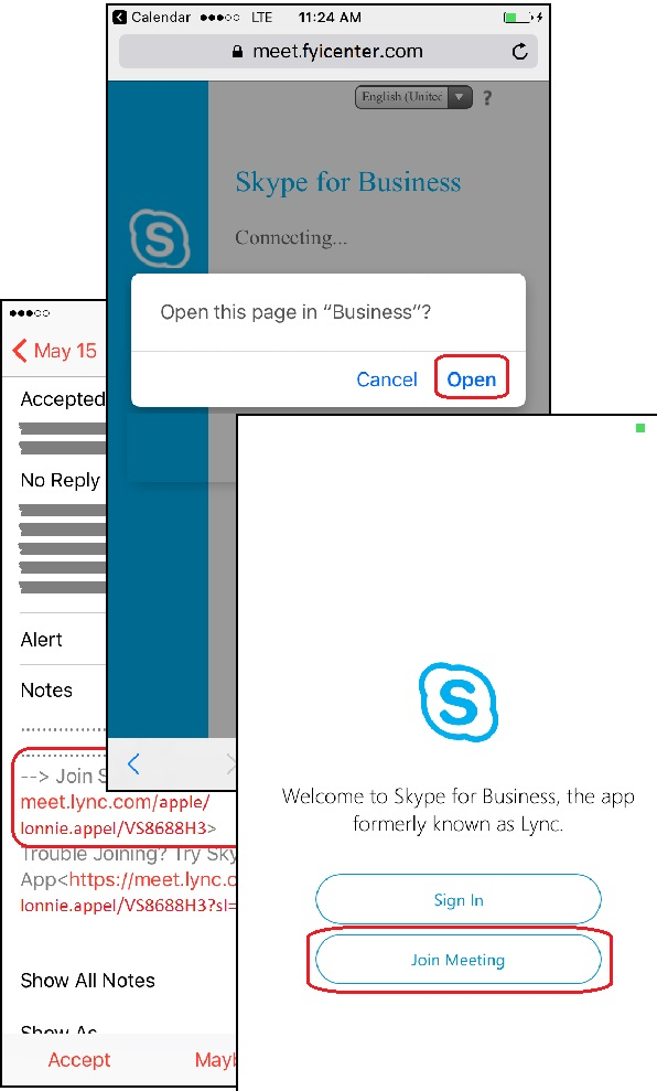 Join Meeting with Skype for Business Account n iPhone