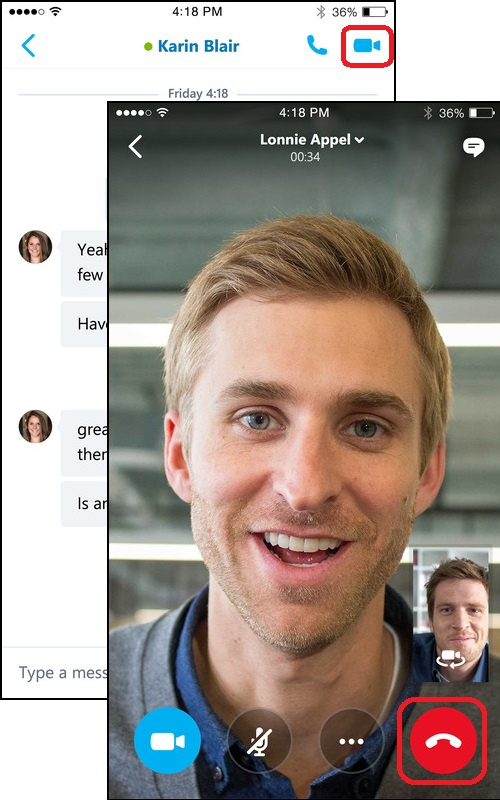 Video Call with Skype for Business on iPhone