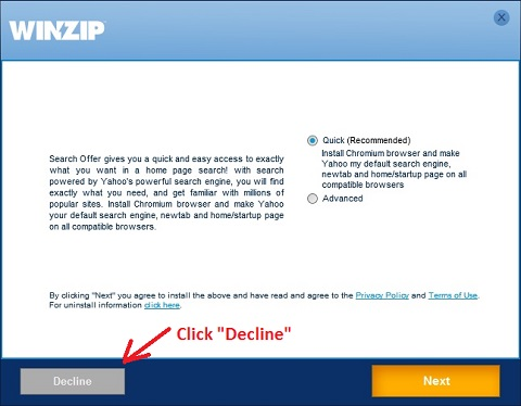 WinZip 21.0 Installation - Decline Chromium and Yahoo Offer