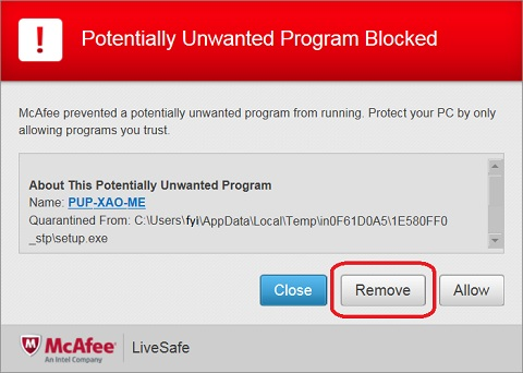 WinZip 21.0 Installation - PUP-XAO-ME Blocked by McAfee